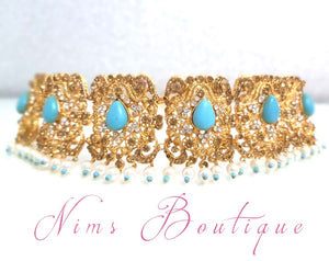 Turquoise Maharani Choker Set with Pearls