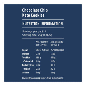 Keto Cookies | Chocolate Chip 25g