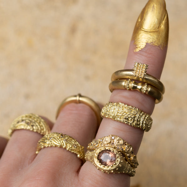 Rings from Fiona Fitzgerald Jewellery's Anamnesis Collection worn on hand