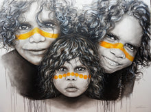 Siblings - Australia Aboriginal portrait art. Ltd Ed prints: Framed or Unframed