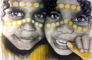 Ochre Boys - Australia Aboriginal portrait art. Ltd Ed prints: Framed or Unframed