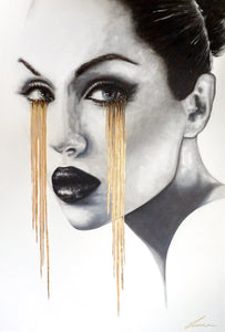 Beautiful portrait of a woman with tears of gold. Golden Lessons artwork features gold leaf.