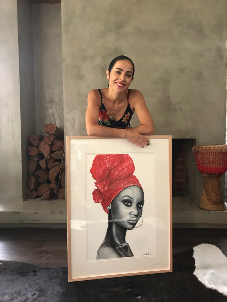 Angola Red - African woman Portrait art Print - available framed and unframed