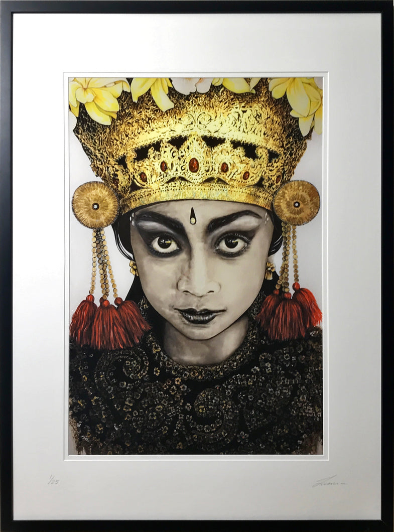 Bali Gold - Portrait with gold highlight. Limited Edition print - framed / unframed