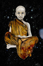 OM - Painting of Buddhist Boy.  Original art.