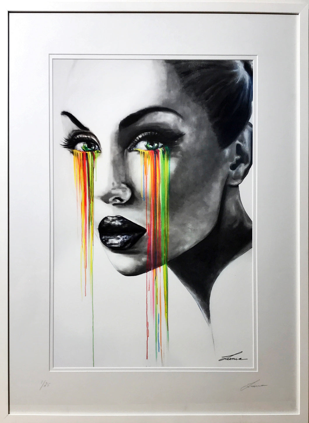 Tears of Joy - Portrait of woman with colour. Limited Edition Print, framed or unframed