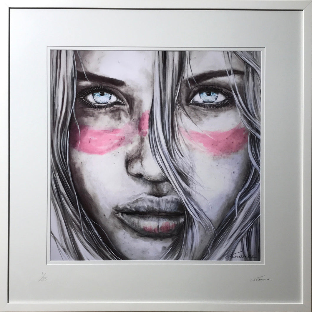Lucky Country (Pink Zinc) - Aussie Girl portrait Art Print - Pink