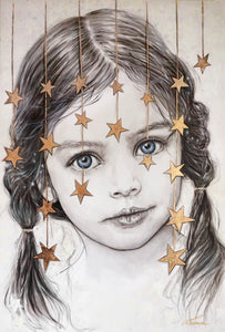 Little Dreamer - little girl portrait. Limited Edition giclee' print - framed or unframed