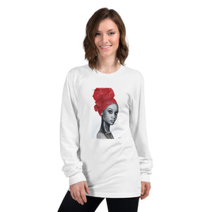 African Pride Red art by Lionia Long sleeve t-shirt