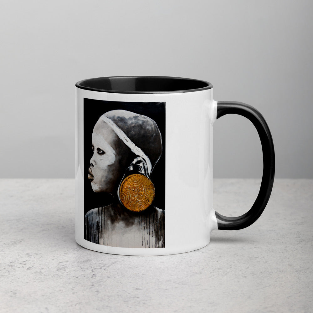 African Gold Art by Lionia Mug with inside Colour