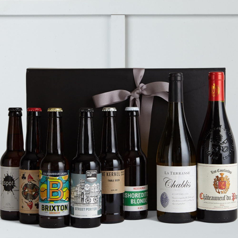 Beer v Wine Gift Box - Beer Hampers For Him - Hamper Lounge
