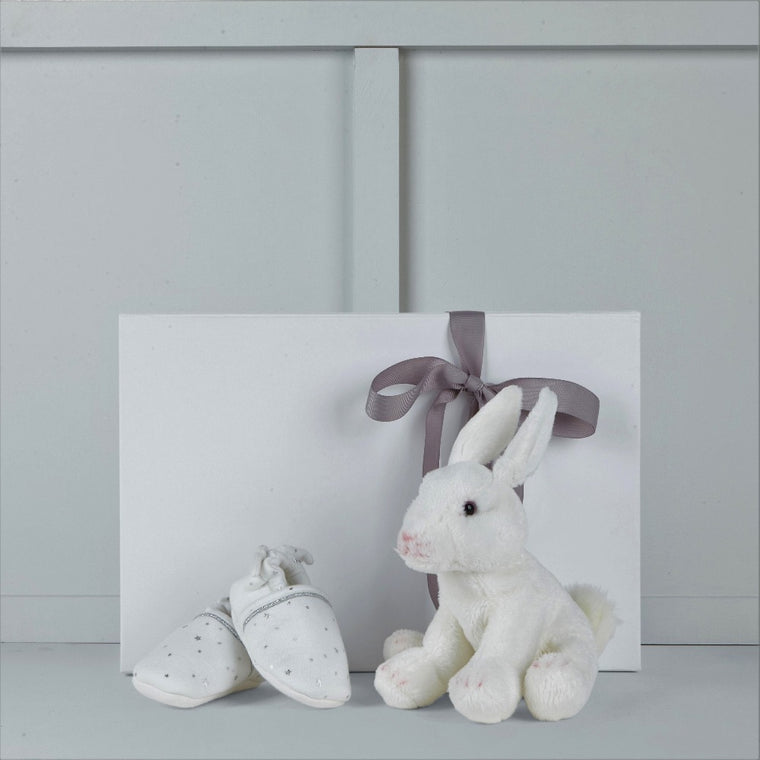 Rosie the rabbit soft toy & Angel Wing booties by Albetta