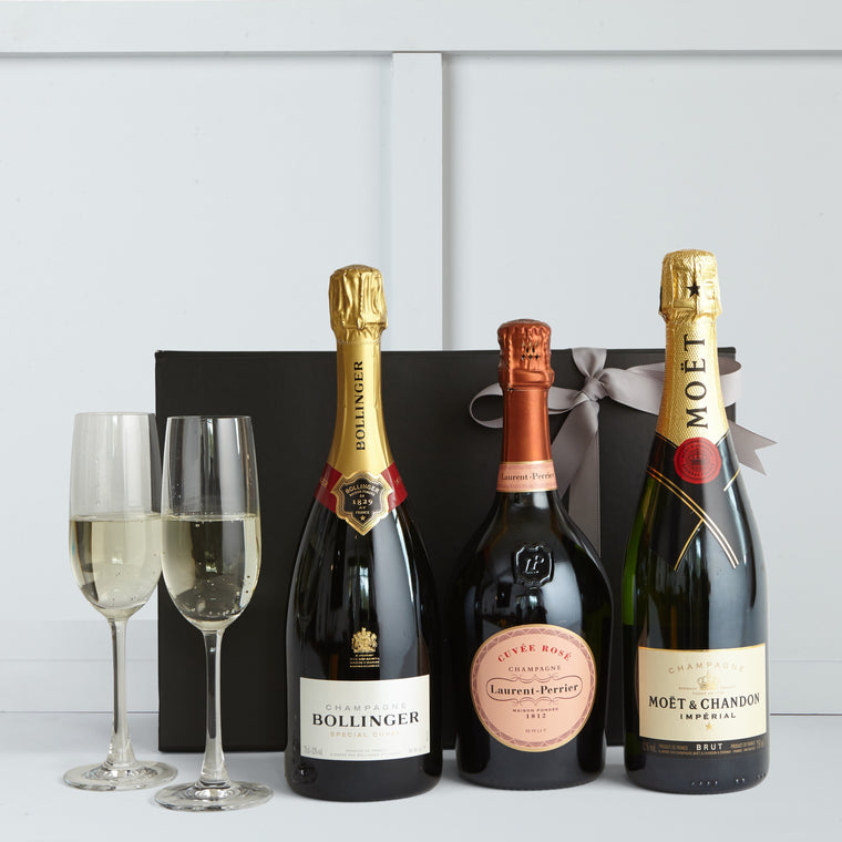 The Champagne Classics Gift | Bollinger | Cuvee Rose | Moest & Chandon | Hamper Lounge