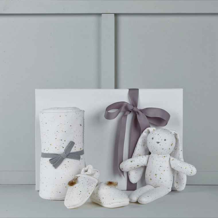 Confetti print baby blanket, booties & bunny from Albetta