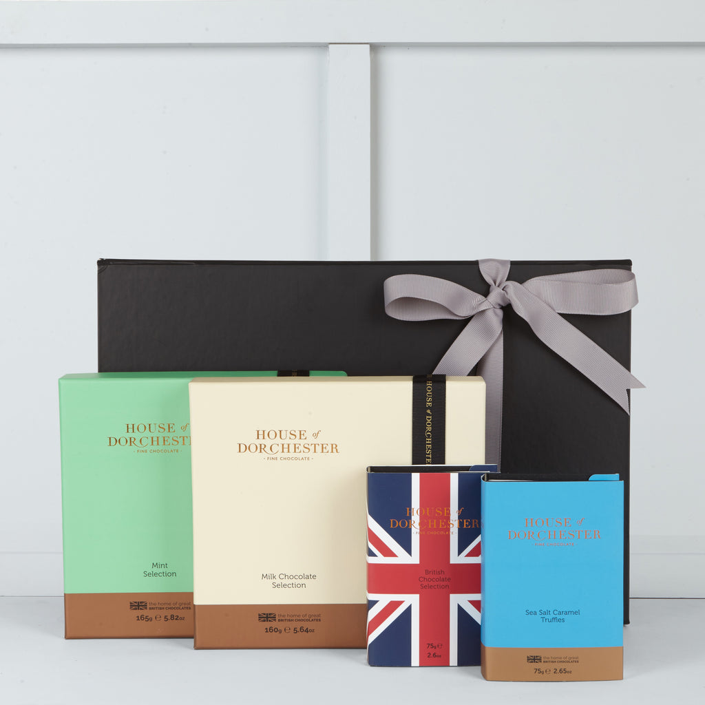 This hamper includes Salted Caramel Truffles, Union Jack British Selection, Mixed Milk Chocolate Selection & Mint Selection by House of Dorchester