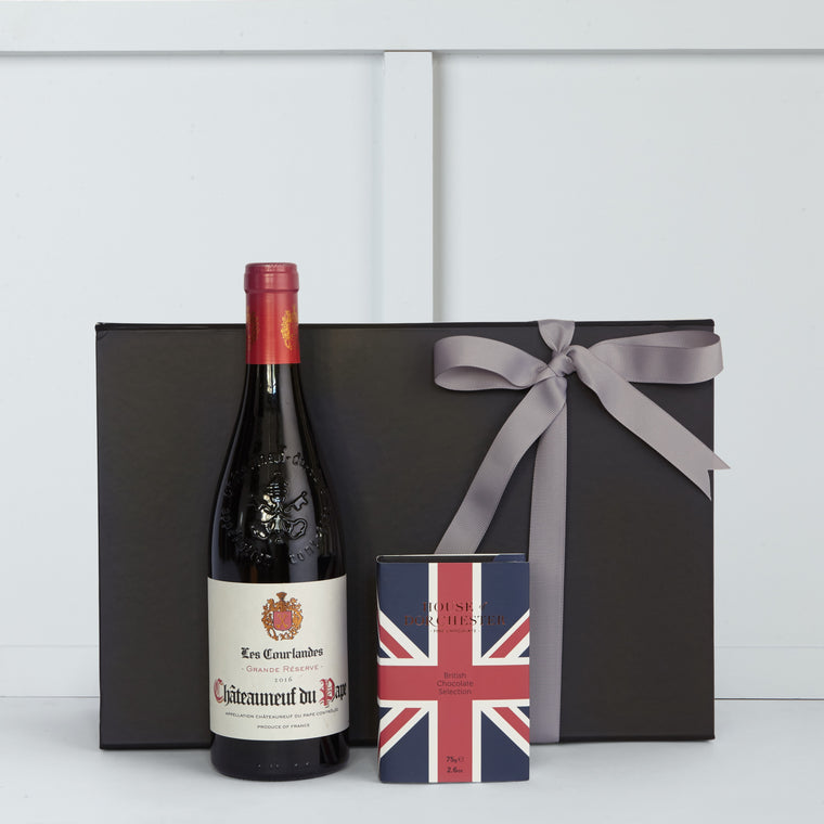 British Selection Chocolates by House of Dorchester and Chauteauneuf du Pape 75cl bottle