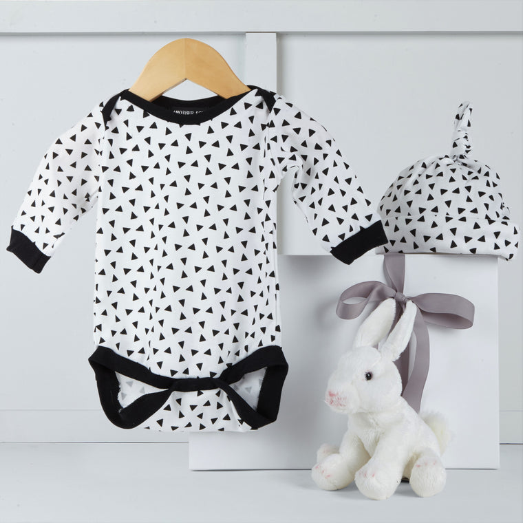 Stellar bodysuit & hat by Another Fox, Shirley the sheep soft toy