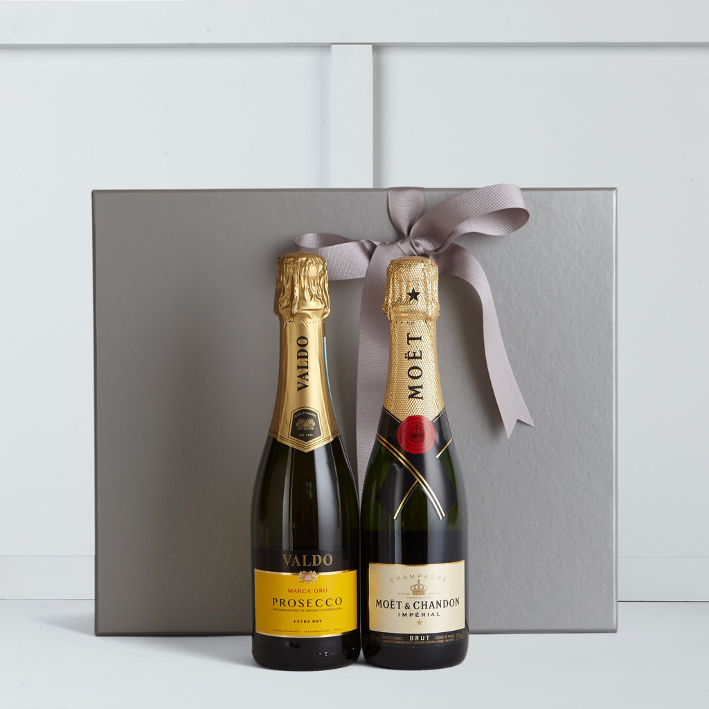 This gift box includes Bottle of Moet et Chandon 37.5cl and Bottle of Marca Oro Prosecco 37.5cl