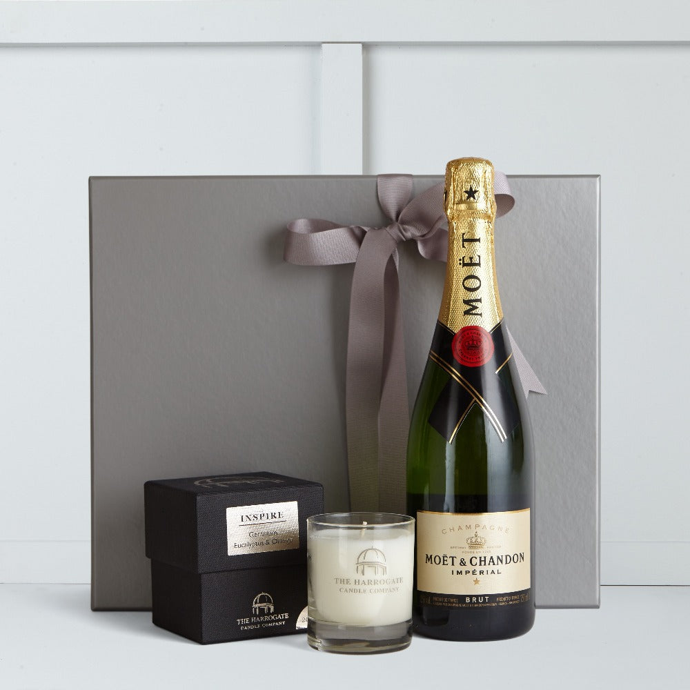 Moet et Chandon Champagne 75cl Bottle & 10cl Candle by The Harrogate Candle Company.