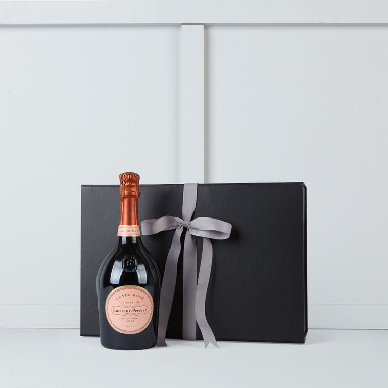 Image of a bottle of Laurent Perrier Rose champagne
