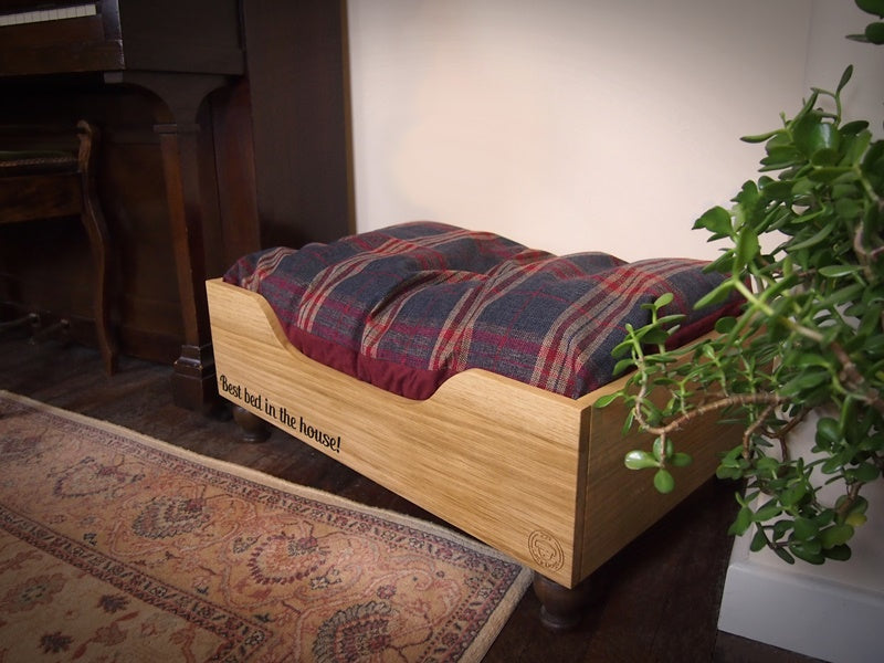 Personalised wooden raised dog bed