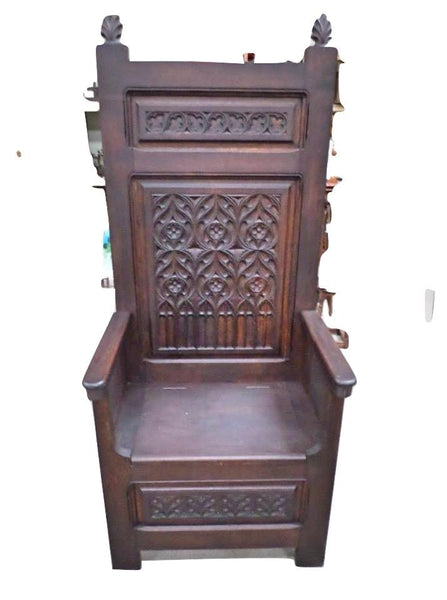French Antique Cathedre or Cathedral Chair Gothic style front