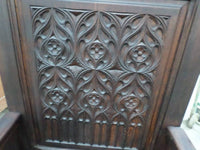 French Antique Cathedre or Cathedral Chair Gothic style closeup
