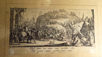 French Antique Genuine Jacques Callot Etching circa 1620 Jesus Carrying th Cross Free Shipping
