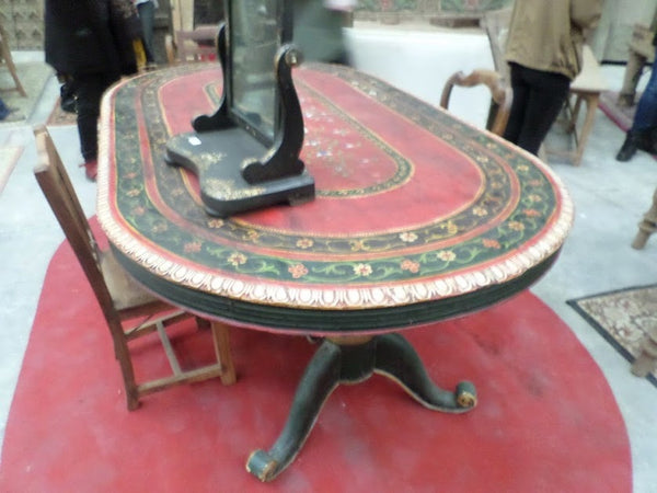 Vintage Indian Dining Table floral painting with 2 massive feet