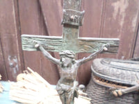 Antique Bronze Statue Calvary Crucifixion Group 8