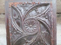 Antique French Renaissance Gothic Church Panel 1600s closeup top