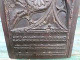 Antique French Renaissance Gothic Church Panel 1600s closeup