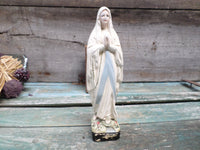 French antique Plaster statue Mary Lourdes Art Deco front 5
