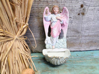 Antique handpainted Porcelain Cherub Holy Water Font front 2