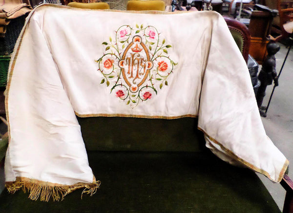 French Antique Silk Embroidery Church Antependium front