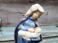 Vintage French Ceramic Statue Virgin Mary Signed RR Bloch closeup front