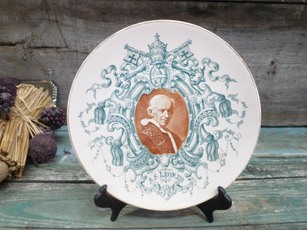French Antique Sarreguemines Collectible Plate Pope Leon XIII front