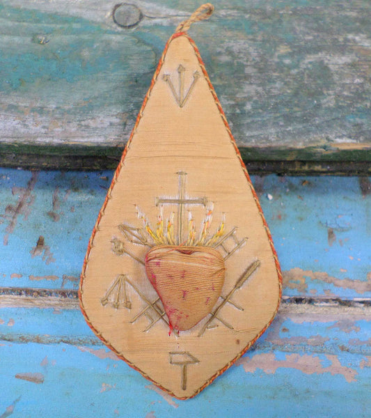 Antique Embroidery  Devotional Object of Piety French Antiques Religious Silk Ex Voto