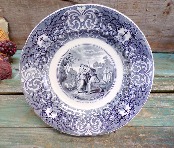 French Antique Bordeaux Viellard Collectible Bible Plate Jacob and Rachel