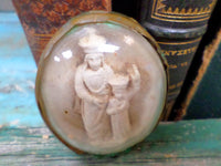 French Antique Religious Meerschaum Chalkware Medalion Pendant Virgin Mary and Baby Jesus  front 1