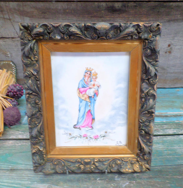 French Antique Religious Painting on Porcelain signed LB circa 1903 Wooden Carved Frame front