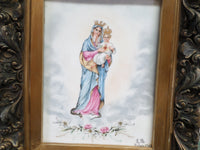 French Antique Religious Painting on Porcelain signed LB circa 1903 Wooden Carved Frame 5