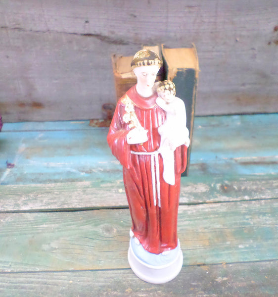 French Antique hand painted Porcelain Statue Saint Anthony of Padua front