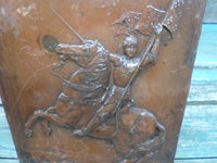 Antique Joan of Arc Heavy Repousse Metal plaque signed Piron 8