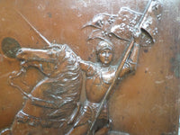 Antique Joan of Arc Heavy Repousse Metal plaque signed Piron closeup