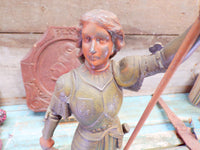 Antique Joan Of Arc french Spelter Statue closeup