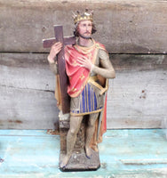 French Antique Plaster Polychrome Saint Louis Statue front