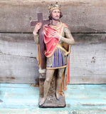 French Antique Plaster Polychrome Saint Louis Statue 3