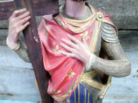 French Antique Plaster Polychrome Saint Louis Statue closeup