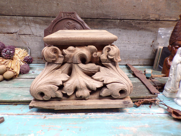 French Antique Wooden Carved Church Statue Console 1700s